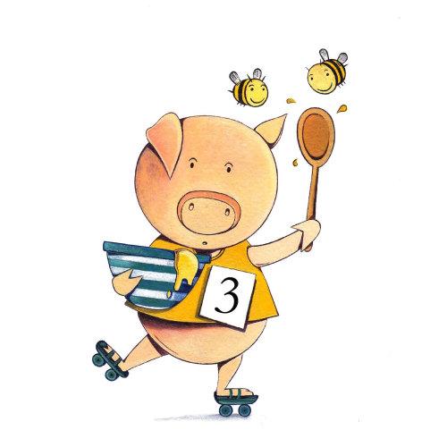Cartoon character of cute pig