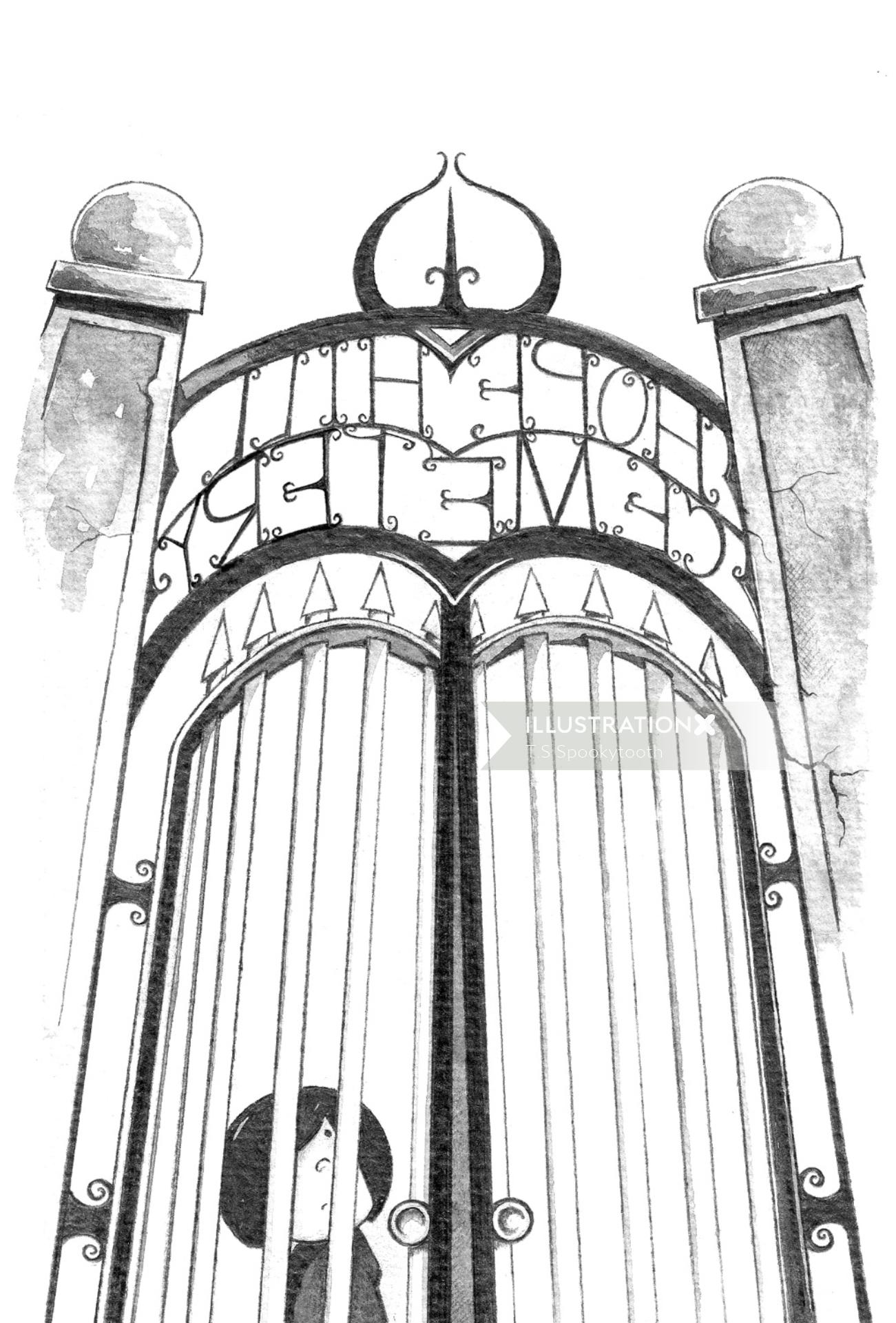Line drawing of child outside a gate