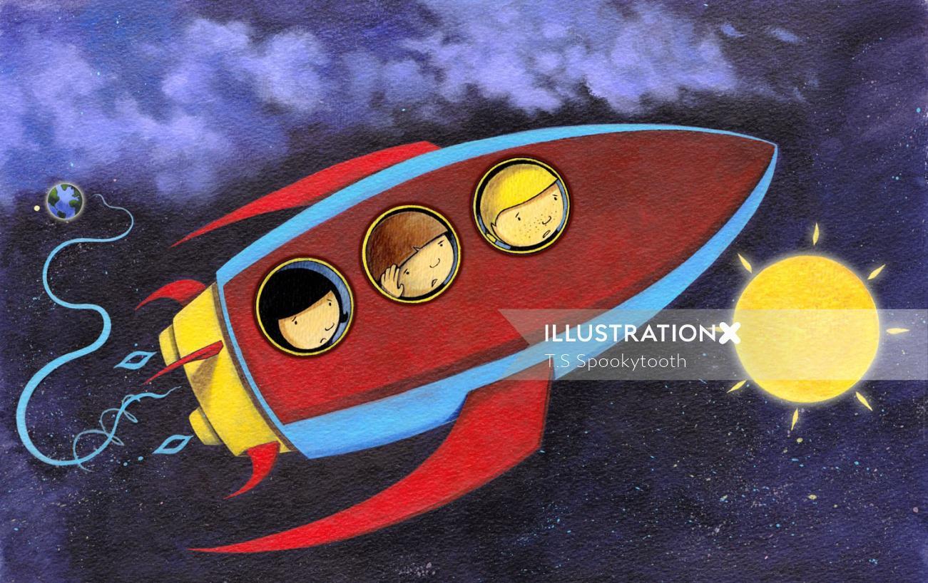 Watercolour Let's Build A Rocket