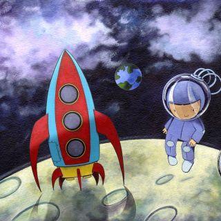 Let's Build A Rocket Illustration For Children's Book