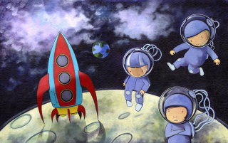 Let's Build A Rocket Illustration For Children's Book