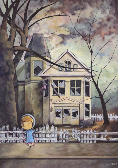 Girl in front of spooky house acrylic painting