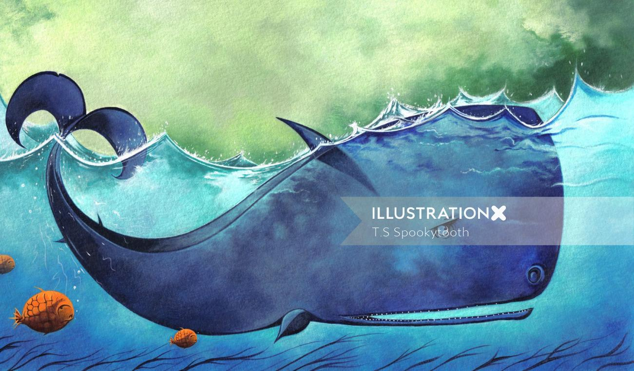Shark acrylic painting by London based illustrator