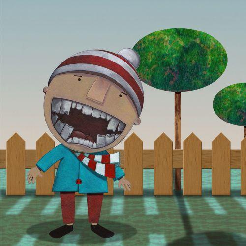 Humorous illustration of child