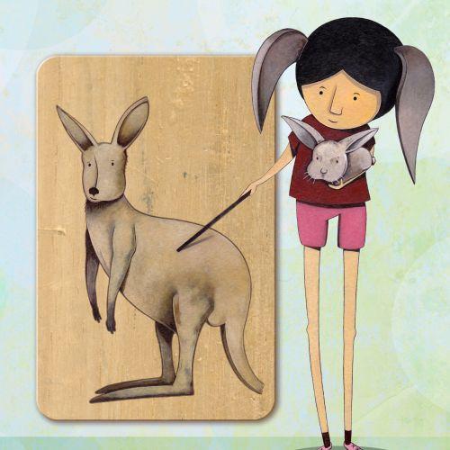 Girl with Kangaroo acrylic painting