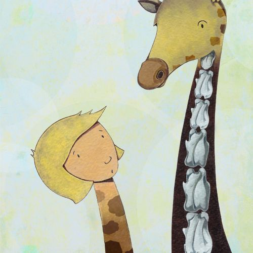 Giraffe body with human head
