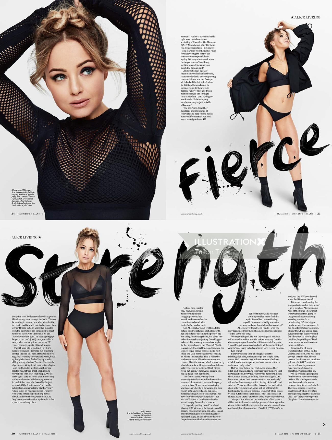 Editorial artwork of fierce strength