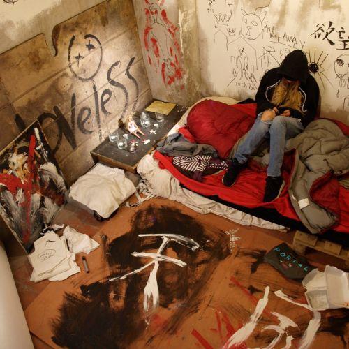 Mural art for film squat set design