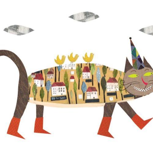 Children book illustration of comic cat toy