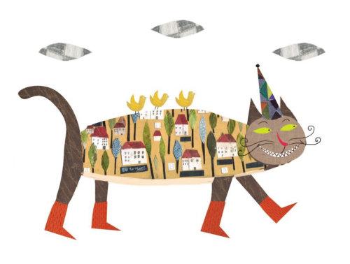 Ilustração em livro infantil de brinquedo de gato em quadrinhos