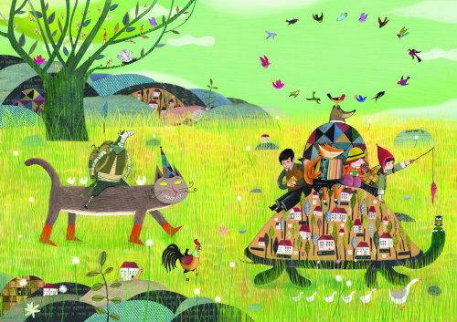 Ilustração decorativa de animais viajantes