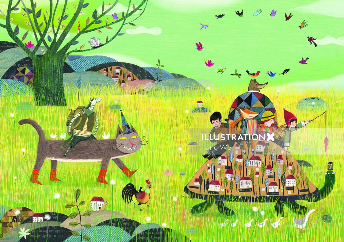 Decorative illustration of travelling animals