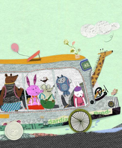 Ilustração de animais viajando em ônibus