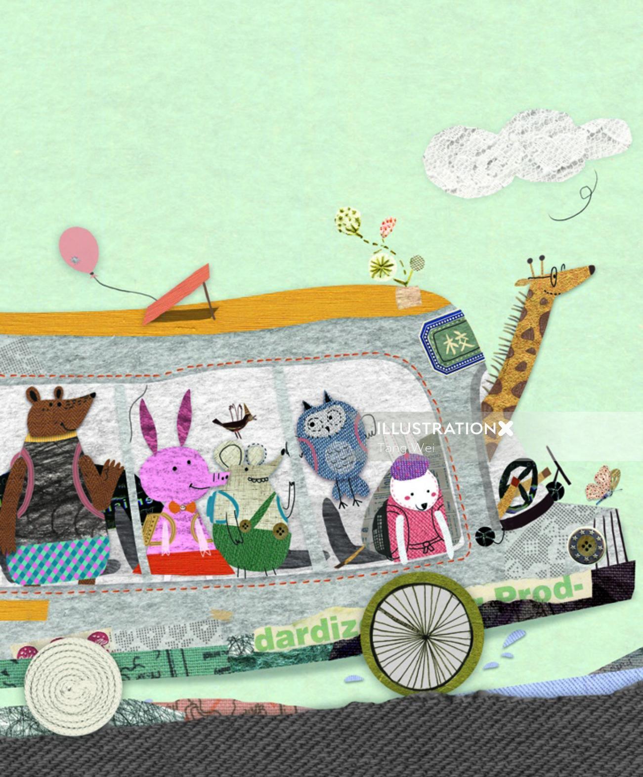 Animals travelling on bus illustration