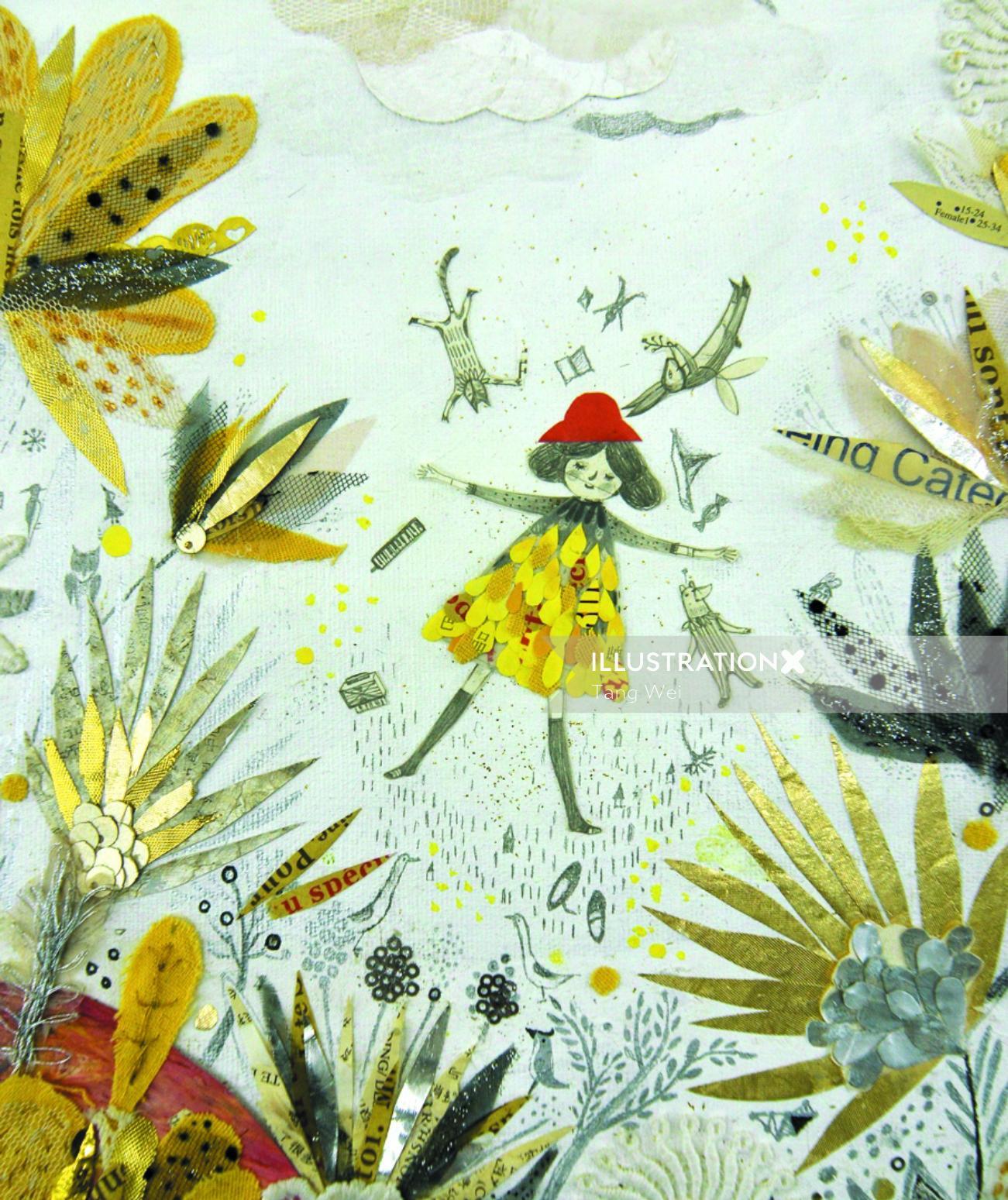 Children's book illustrationo f sleeping on forest