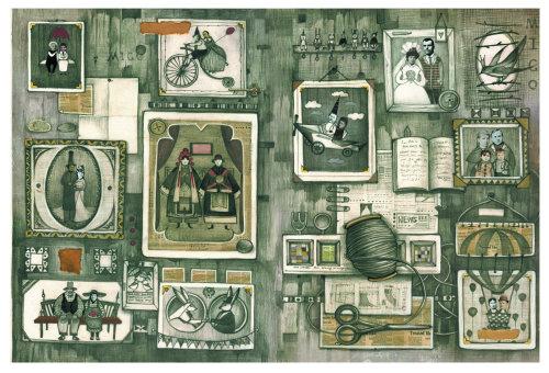 Ilustração em preto e branco do quadro de grade de fotos