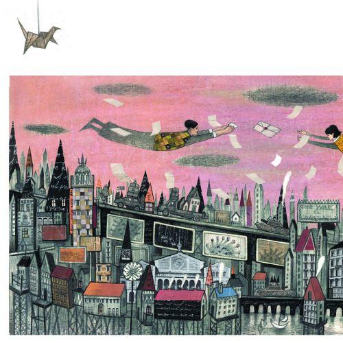 Paper art of flying man