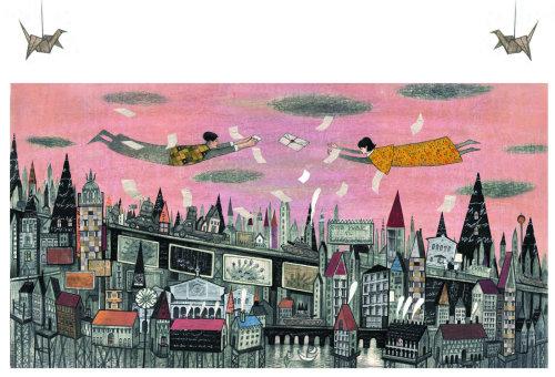 Arte em papel do homem voador
