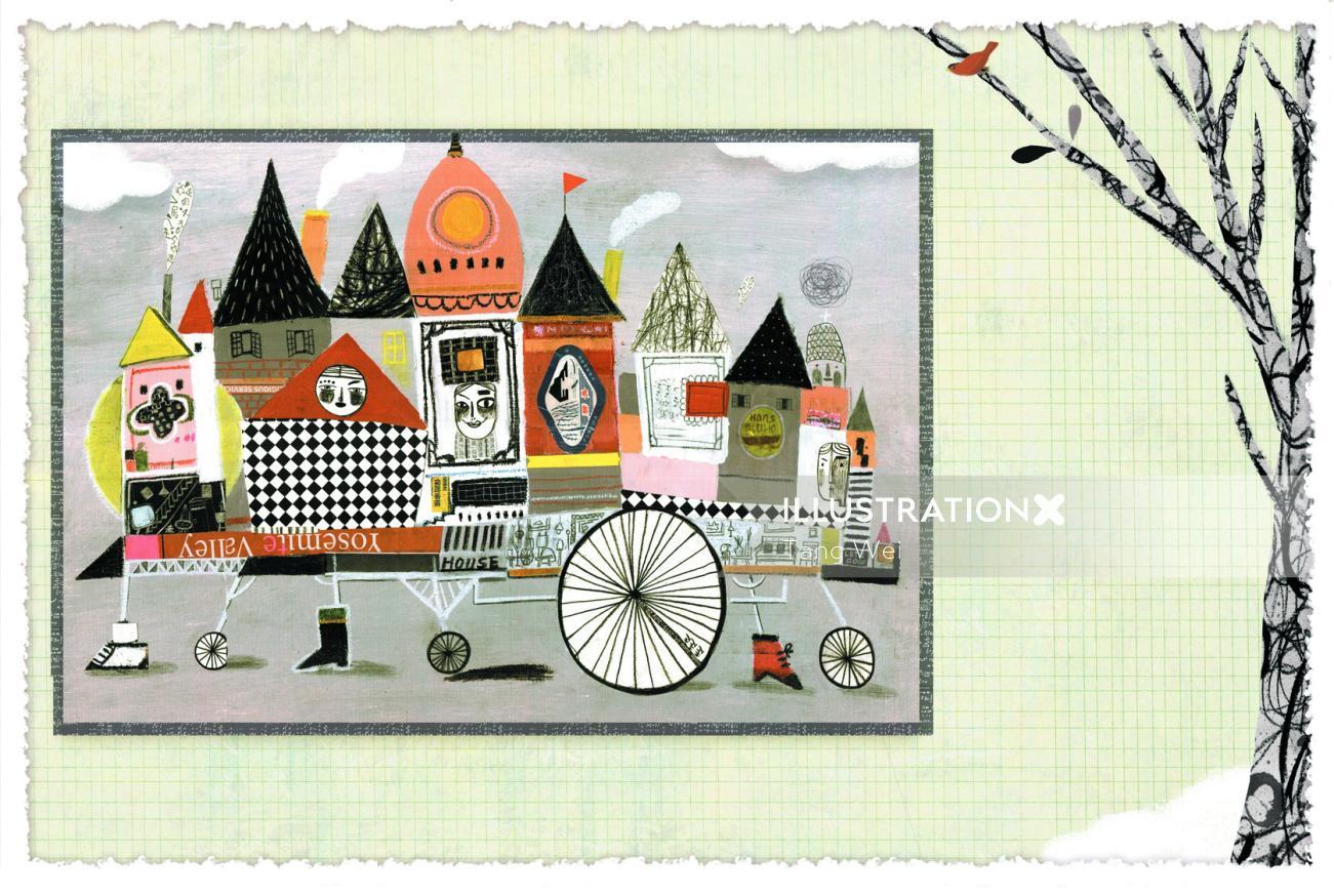 Conceptual illustration of circus city