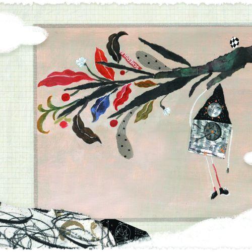 Line drawing of kite man