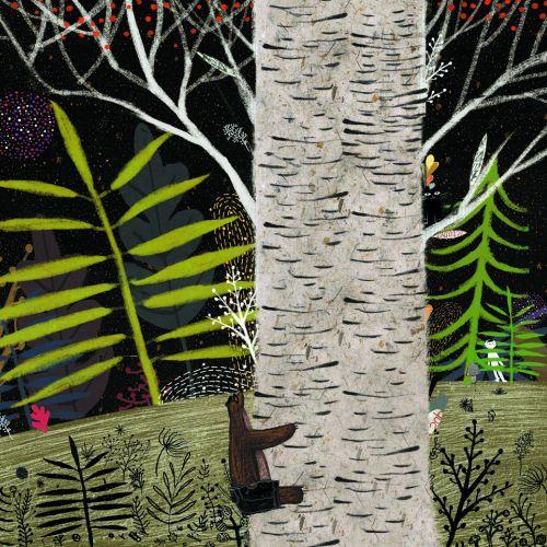 Bear climbing tree children illustration
