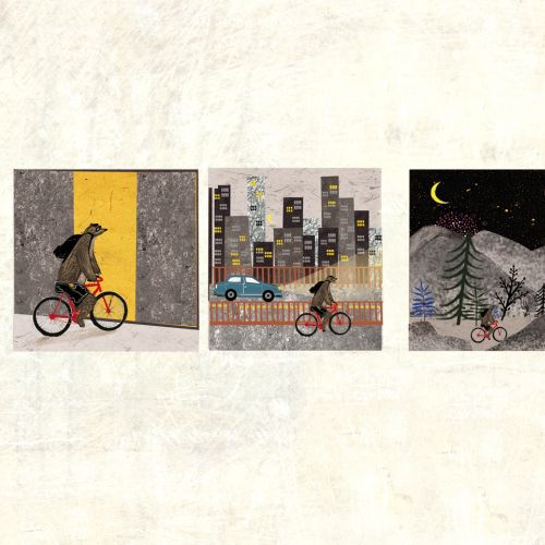 Collage and montage illustration of bear cycle driving