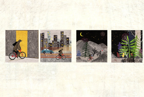 Ilustração de colagem e montagem de bicicleta de urso dirigindo