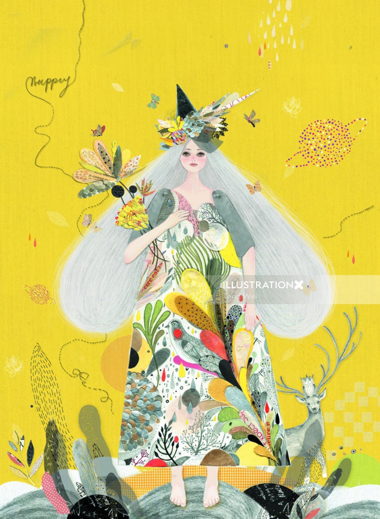 Character design of flower girl