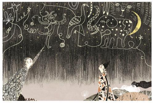 Ilustração infantil de desenho no céu
