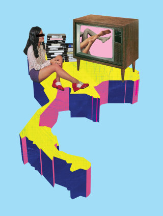 Illustration of girl watching TV