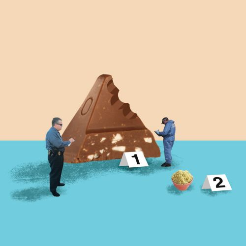 Illustration of people calculatiing the food race