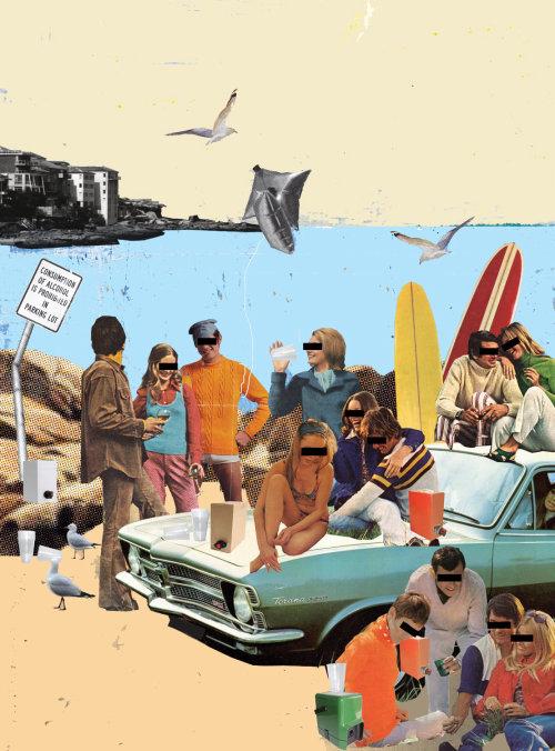 Colagem e montagem de pessoas na praia