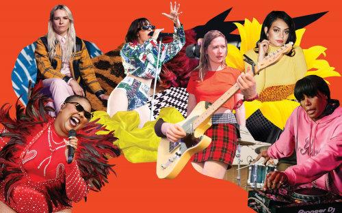 Colagem e montagem de banda de música feminina