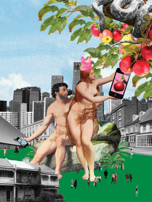 Collage & Montage Adam & Eve with apples