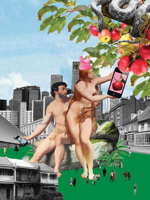 Colagem e montagem de Adão e Eva com maçãs