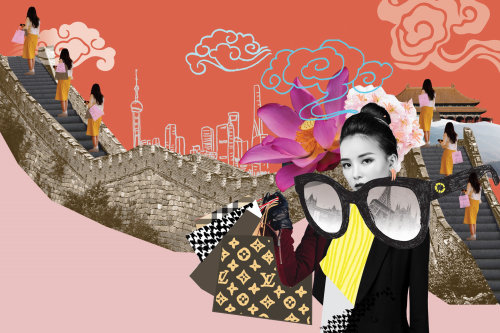 Collage & Montage woman at china wall
