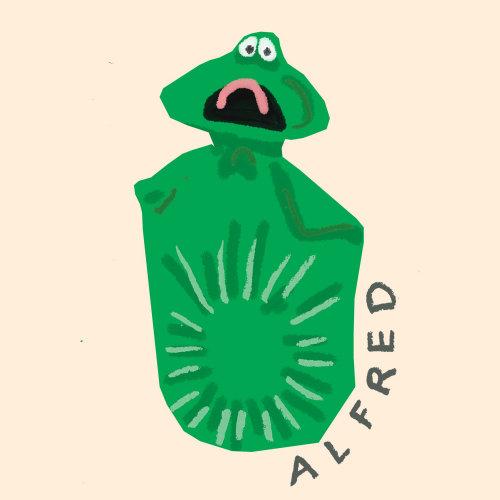 Monstro Alfred dos desenhos animados e humor