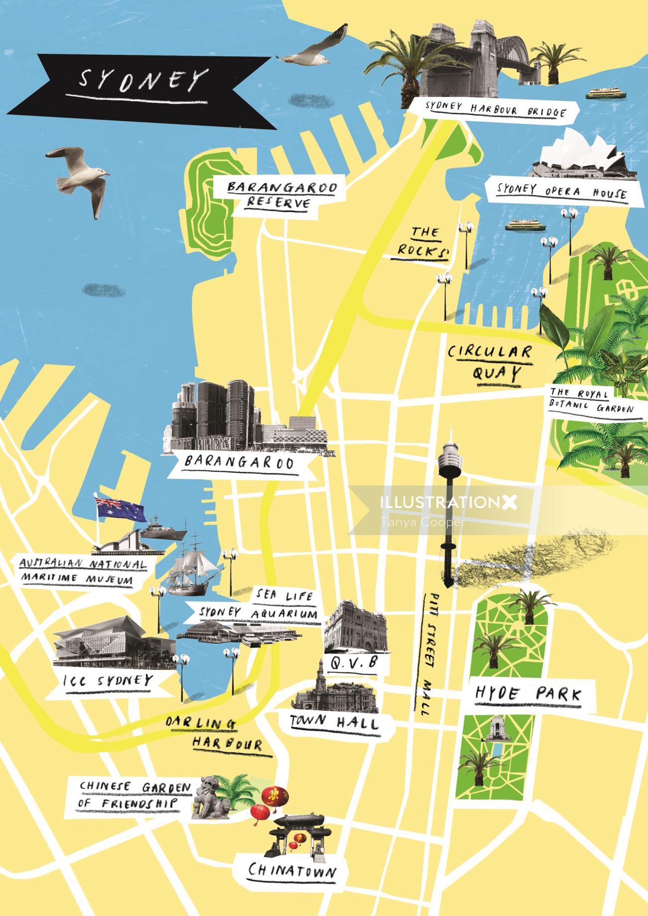Maps Sydney Top view