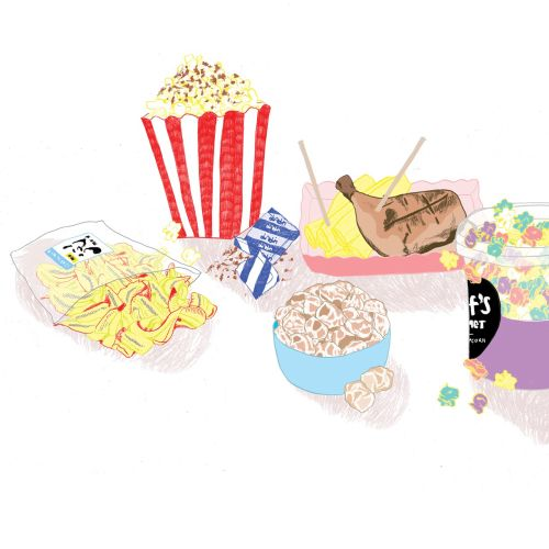 Food & Drinks Popcorn and meat