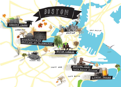 Maps Boston city