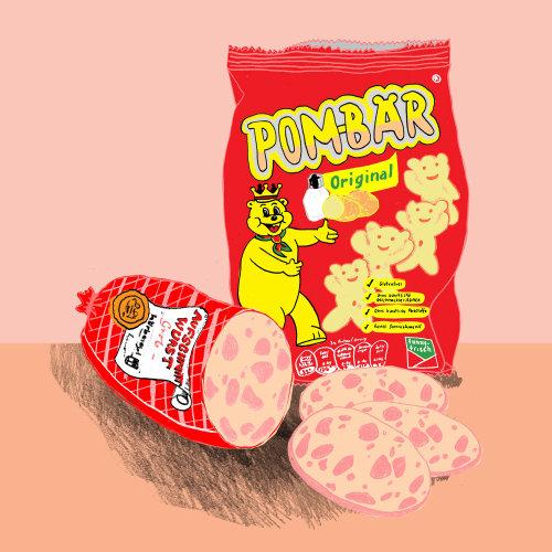 Design gráfico de snacks bar Pom