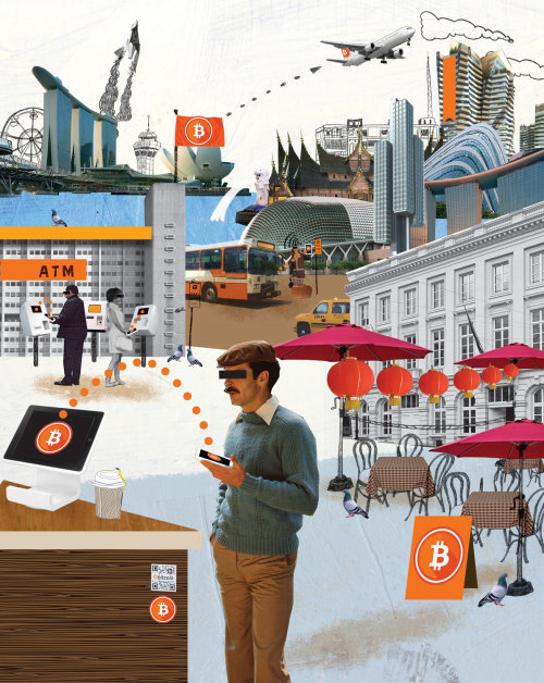 Uso de bitcoin de colagem e montagem