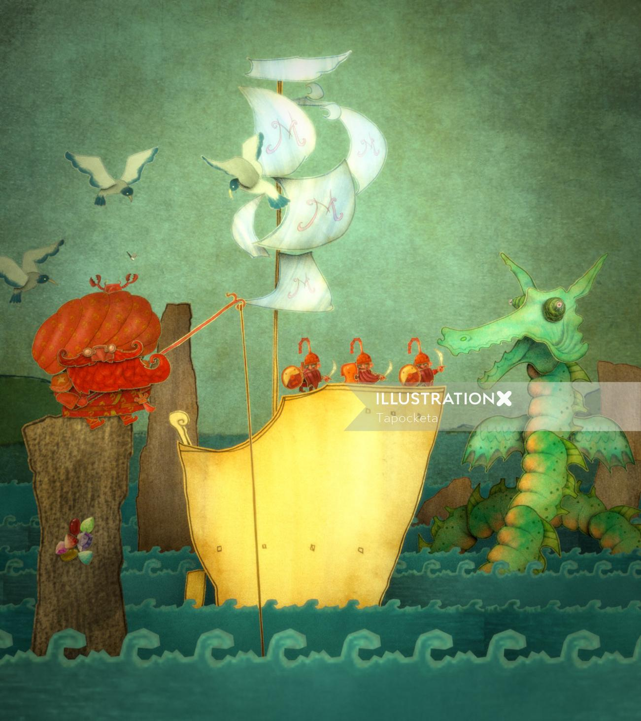 Illustration of Mustafo and the Sea Monster