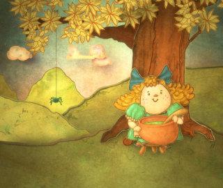 Illustration of Little Miss Muffett, the nursery rhyme character