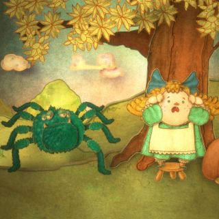 Little Miss Muffett, the nursery rhyme character drawing