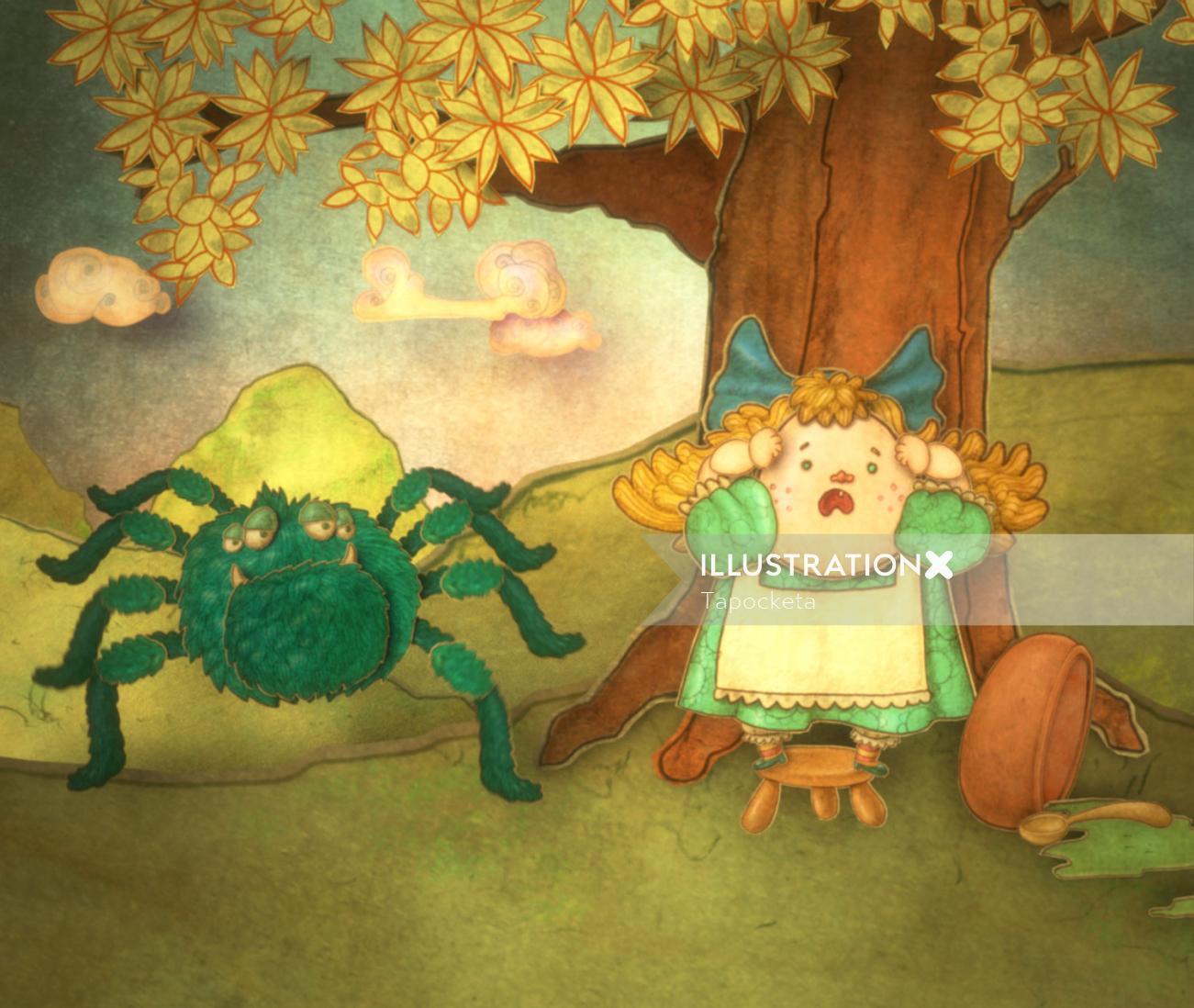 Little Miss Muffett, the nursery rhyme character drawing