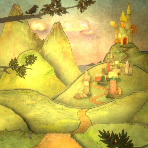 Illustration of Fairy tale landscape with foreground trees.
