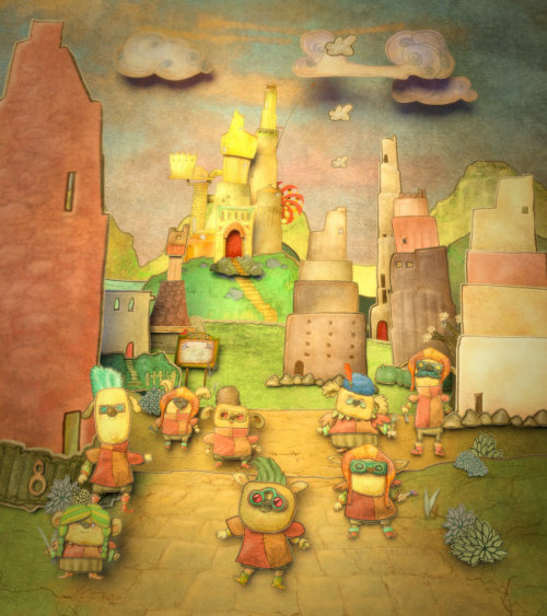 A fairytale town inhabited by little creatures artwotk