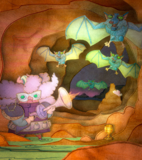Colored drawing of blood-sucking bats in their cave
