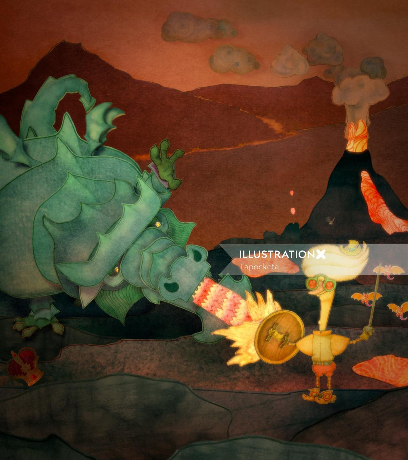 Dandy and the Dragon cartoon illustration